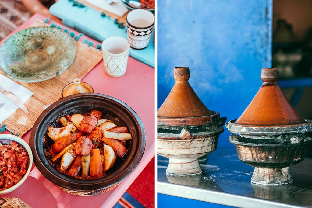 Tagine and colorful dishes of Moroccan cuisine