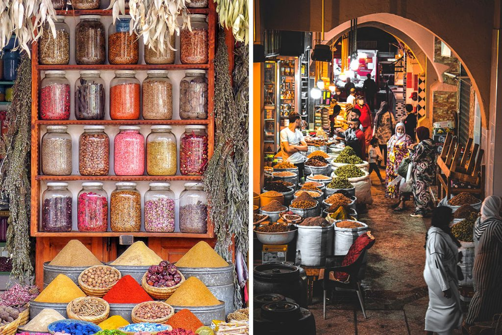 Colorful spices and market stalls in Morocco