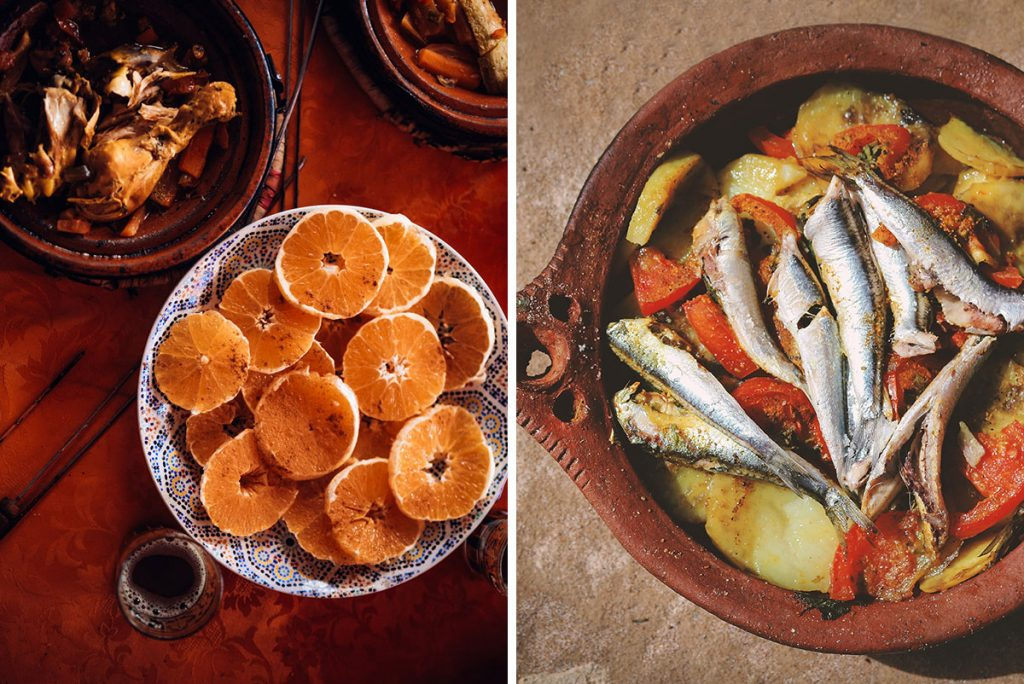 Moroccan plates of oranges and seafood
