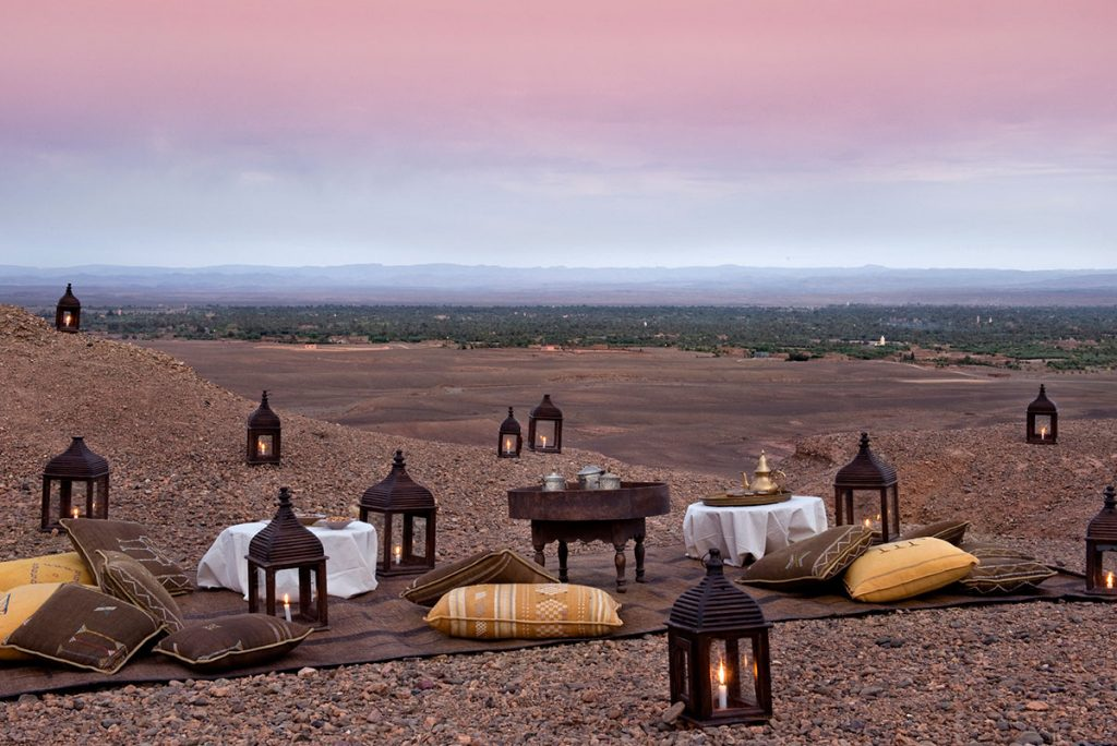 Intimate picnic meal setting by Dar Ahlam, Morocco
