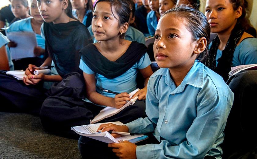 Schoolgirls in the American Himalayan Foundation's Stop Girl Trafficking program, Nepal