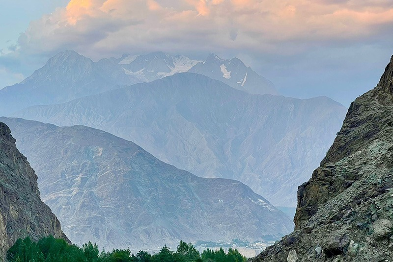 Towering mountains in the Hunza Valley, Pakistan