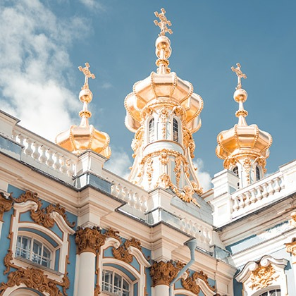 The gilded exterior of Catherine Palace near St. Petersburg, Russia