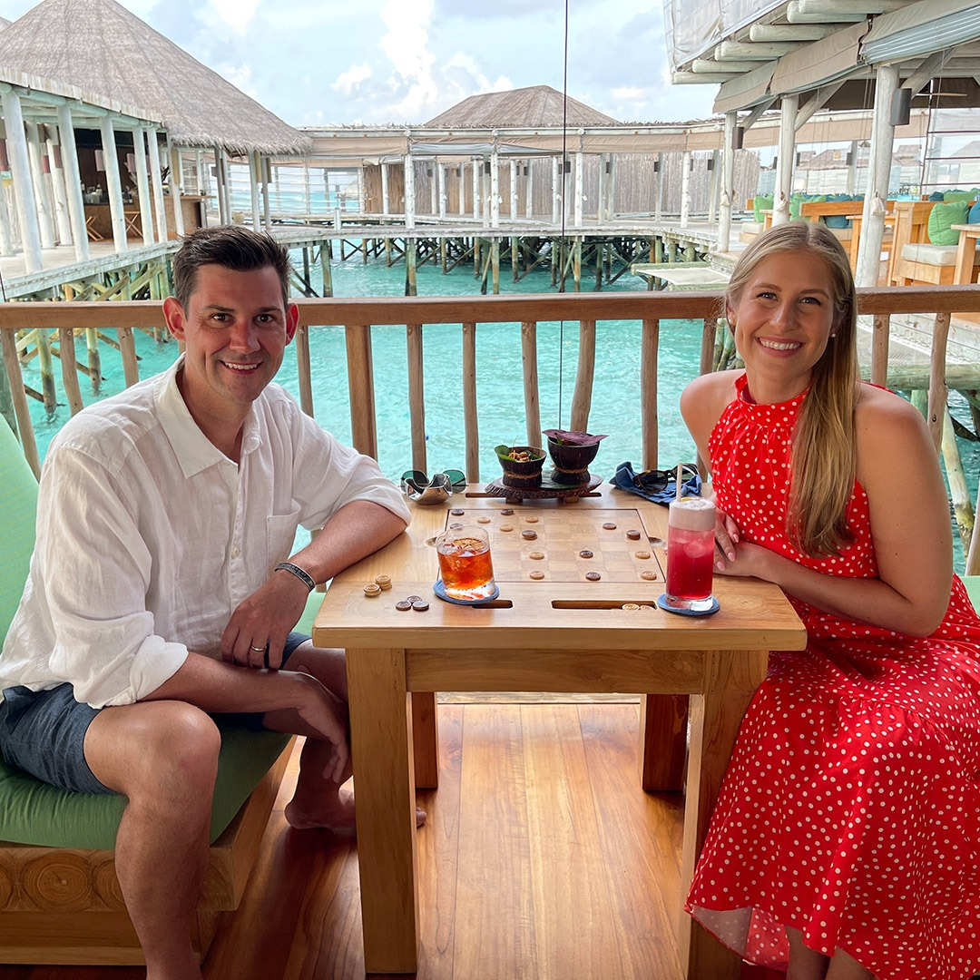 GeoEx guests on their honeymoon in the Maldives