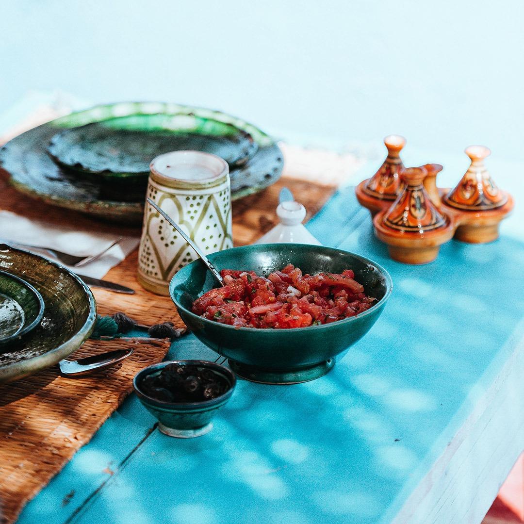 Moroccon dish and ceramic tableware